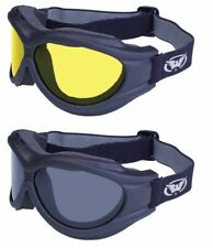 2 Motorcycle Goggle Fit Over Cover Glasses Smoke Yellow Go Offroad Landscapers