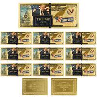 US 2020 President Donald Trump 24k Gold Foil Gold Banknote Art Ornament 10pcs