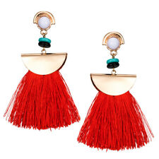 Red Silk Tassel Dangle Fashion Earrings Hold Half Moon White Turquoise Beads