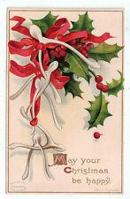 Vintage Postcard Christmas Wishbones Holly Ellen Clapsaddle No. 1544 German 1908