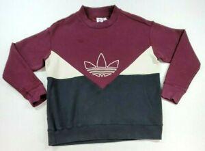 Adidas Trefoil Sweatshirt Retro Women Sz M Crew Maroon Tan Black Color Block