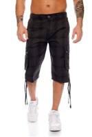 Raff & Taff Mens Check Pattern Cargo Shorts Anthracite Grey Size L Large RRP £40