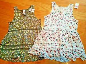JUSTICE SUMMER FLORAL TUNIC TANK TOPS SIZE 10 NWT