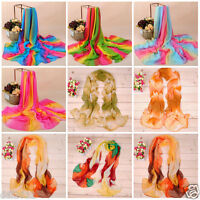 New Women Floral Tribal Printed Soft Long Stole Chiffon Wrap Shawl Scarf Scarves