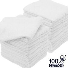 6 NEW WHITE HOTEL WASHCLOTH COTTON SOFT FEEL 12X12 ROYAL DELUXE COLLECTION