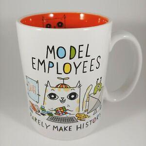 ENESCO Cats at Work Orange Mug - 16oz Large Handle Funny Animal Coffee Cup