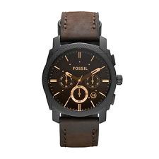 Fossil Herren-Armbanduhr FS4656 Chronograph Edelstahl Leder Analog Quarz Braun