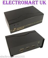 2 WAY 1 IN 2 OUT HDMI DISTRIBUTION SPLITTER AMPLIFIER FULL 1080P