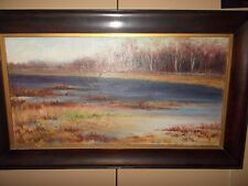 Oil on Canvas Landscape marshes water art nature signed Gertrude Sanderson