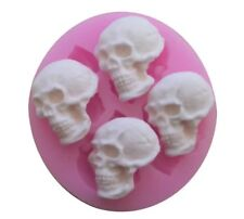 4 SKULLS SILICONE MOULD/SKELETON HEAD/PIRATE SKULL MOLD-CHOCOLATE-RESIN-ICING