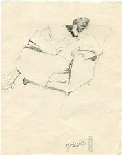 Dama sentada. Dibujo a lapiz por Jordan en 1935