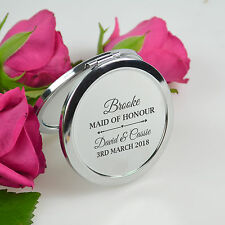 Personalised Favours Wedding Bridesmaids Compact Mirror - Maid of Honour Gift