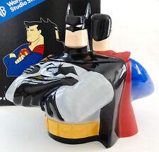 WBSS NEW!! SUPERMAN & BATMAN COOKIE JAR WARNER BROS W/BOX Statue Bust  FIGURINE