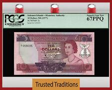 "TT PK 7a 1977 SOLOMON ISLANDS 10 DOLLARS ""QUEEN ELIZABETH II"" PCGS 67 PPQ SUPERB"