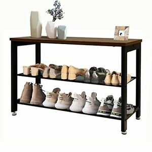 3 Tier Shoe Bench, Shoe Rack Bench with 2 Mesh Shelves, 30% Thicker Steel