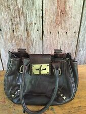 TENTAZIONE DUE made In Italy Brown Leather Shoulder Bag Purse Brass