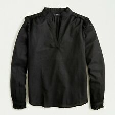 J Crew Black top S Ruffle-trim V-neck long sleeves dot embroidered cotton NWT