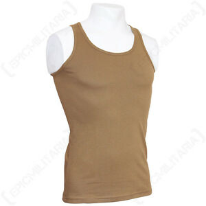 COYOTE TANK TOP - Military Army Combat Cotton Mens Vest Sleeveless All Sizes