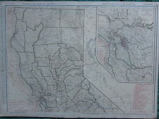 1922 LARGE AMERICA MAP ~ CALIFORNIA NORTHERN SECTION RAILROADS SAN FRANCISCO