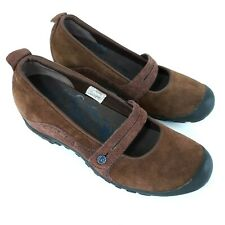 Merrell Womens Plaza Bandeau Mary Jane Shoes Sz 8M Brown Suede Slip On