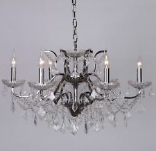 French Style Chrome 6 Arm Branch French Shallow Cut Glass Chandelier
