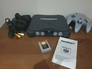 Nintendo 64 System Grey Console N64 with controller and memory card.