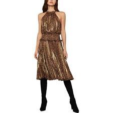 BCBG Max Azria Womens Metallic Animal Print Halter Midi Dress BHFO 0658