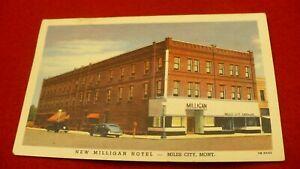 New Milligan Hotel Miles City Montana 1947 linen postage due #2059