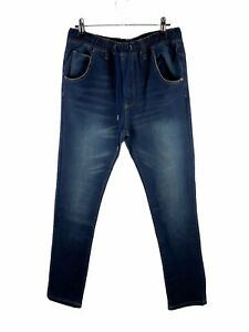Long Lost Elastic Waist Denim Jeans Mens Size 30 Blue Stretch Drawstring Pockets