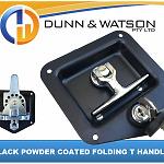 Black Recessed Stainless Folding T Lock / Handle Trailer Caravan, Toolbox Drop T