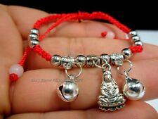 Silver Kwan Guan Yin Buddha Bead Chinese Good Luck Love Charm String Bracelet