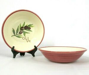 """Williams Sonoma Set of 2 """"Olive"""" Pasta Bowls 9.25"""" Serving Italian Made Portugal"""