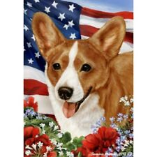Patriotic (1) House Flag - Red and White Cardigan Welsh Corgi 16243