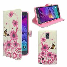 CASE FOR SAMSUNG GALAXY NOTE 4 WHITE PINK SWIRL FLOWER BUTTERFLY WALLET FLIP
