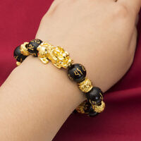 2pcs Gold Plated Obsidian Wealth Bracelet Attract Good Luck Wristband Jewelry