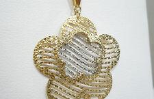 COLLAR ORO blanco y amarillo 18 CT 750 cadena COLGANTE FLOR floret BICOLOR