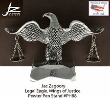 Jac Zagoory Model #PH88 Legal Eagle, Wings Of Justice Pewter Pen Holder / USA