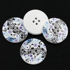 5 en Bois Musical Notes Design Boutons 30 mm 3 cm couture artisanat