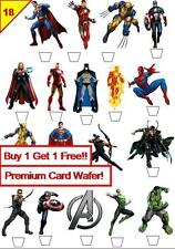 36 Marvel vs Comic Heroes Cup Cake Toppers Premium Wafer Paper Edible *Stand Up*