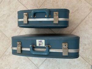 1960 VINTAGE HARD CASE (2) SUITCASES LUGGAGE SET BLUE w/ PanAm TAG