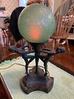 antique lamp art deco three figure brain globe. Working