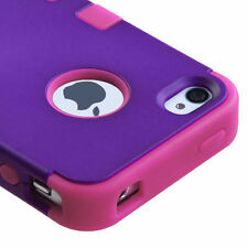 for iPhone 4 4G 4S Purple Pink Hybrid Impact Armor Hard & Soft Rubber Case Cover