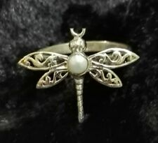Hand Crafted Sterling Silver Dragonfly & Pearl Ring Bohemian Hippy Artisan UK K