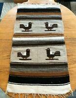 "Vtg 1930s Tribal Southwest Hand Woven Wool Bird Blanket Wall Hanging 40"" x 20"""