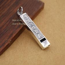 925 Sterling Silver Tibetan Mantra Om Mani Padme Hum Whistle Charm Pendant A2671
