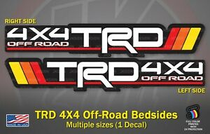Tri-Color TRD 4X4 Off-Road Bedside Decal Vintage Color for Toyota Tacoma Lovers