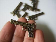 10pcs Bronze Pistol Handgun Gun Charms Pendants For DIY Jewelry Findings