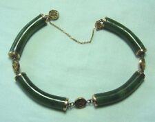 """Chinese 14K Gold Nephrite Jade Bracelet 16.3 grams 7 1/4"""""""