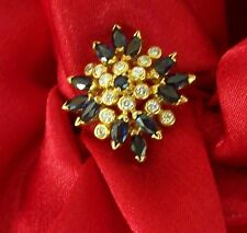 NEW 1995 FABERGE RING 14 DIAMONDS 13 SAPPHIRES 18K GOLD size 10.5 NEW LOW PRICE