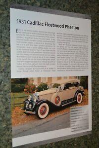 ★★1931 CADILLAC FLEETWOOD PHAETON INFO SPEC SHEET PHOTO FEATURE PRINT 31★B
